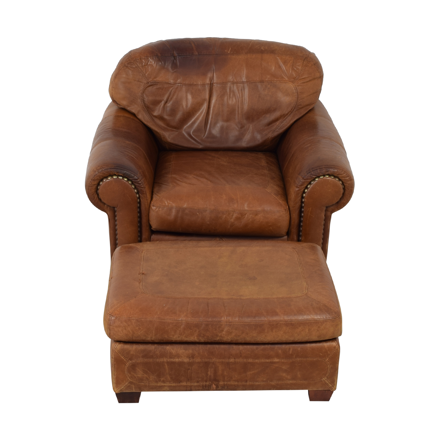 buy Stickley Cibola Brown Leather Armchair and Ottoman Stickley Furniture Chairs