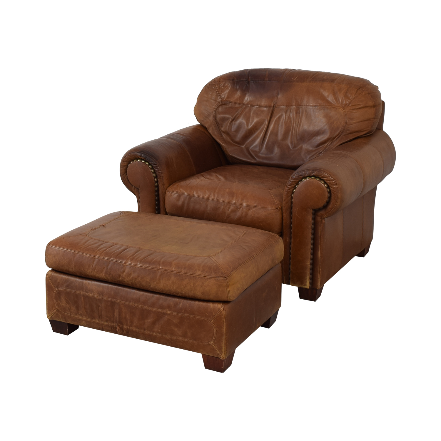 Stickley Cibola Brown Leather Armchair and Ottoman / Accent Chairs