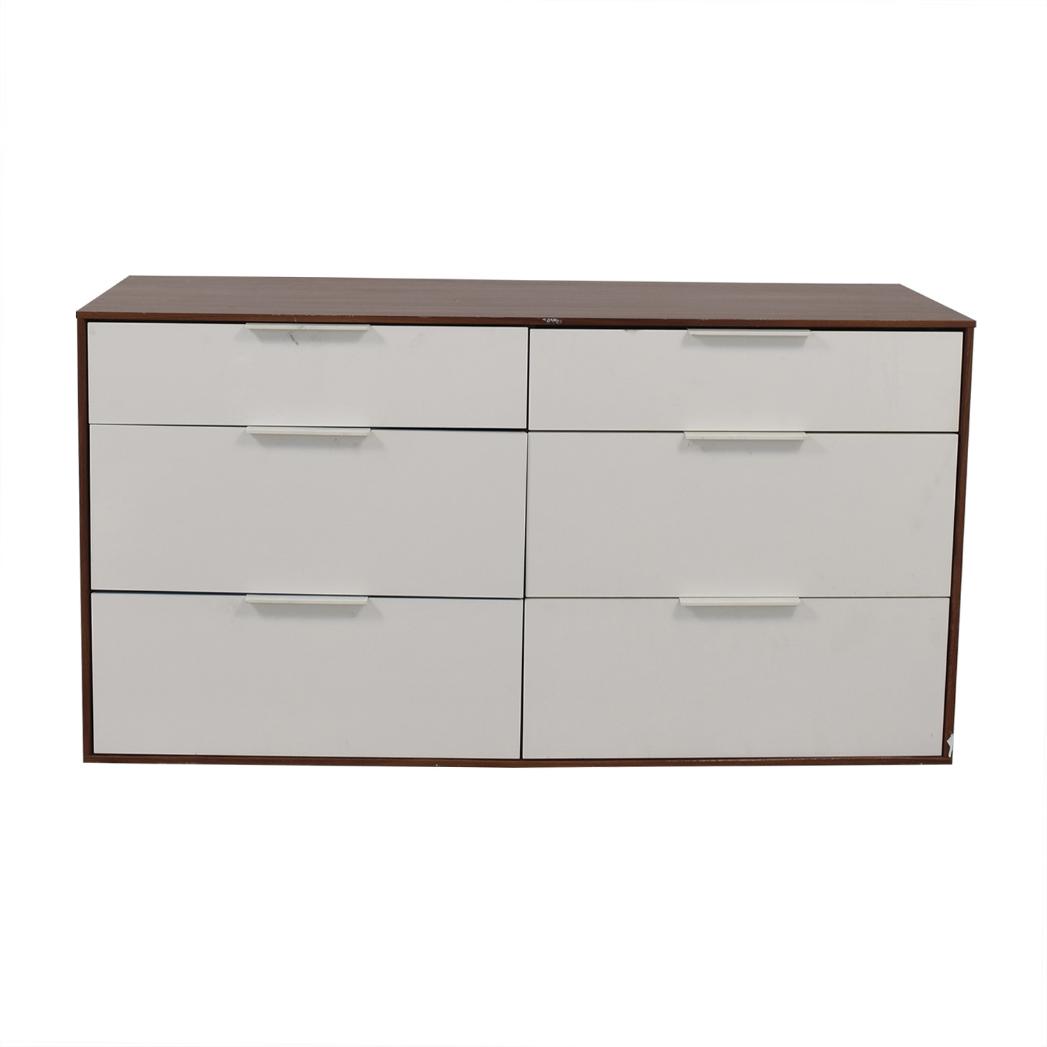 Aurelle Home White Gloss Six-Drawer Dresser Aurelle Home