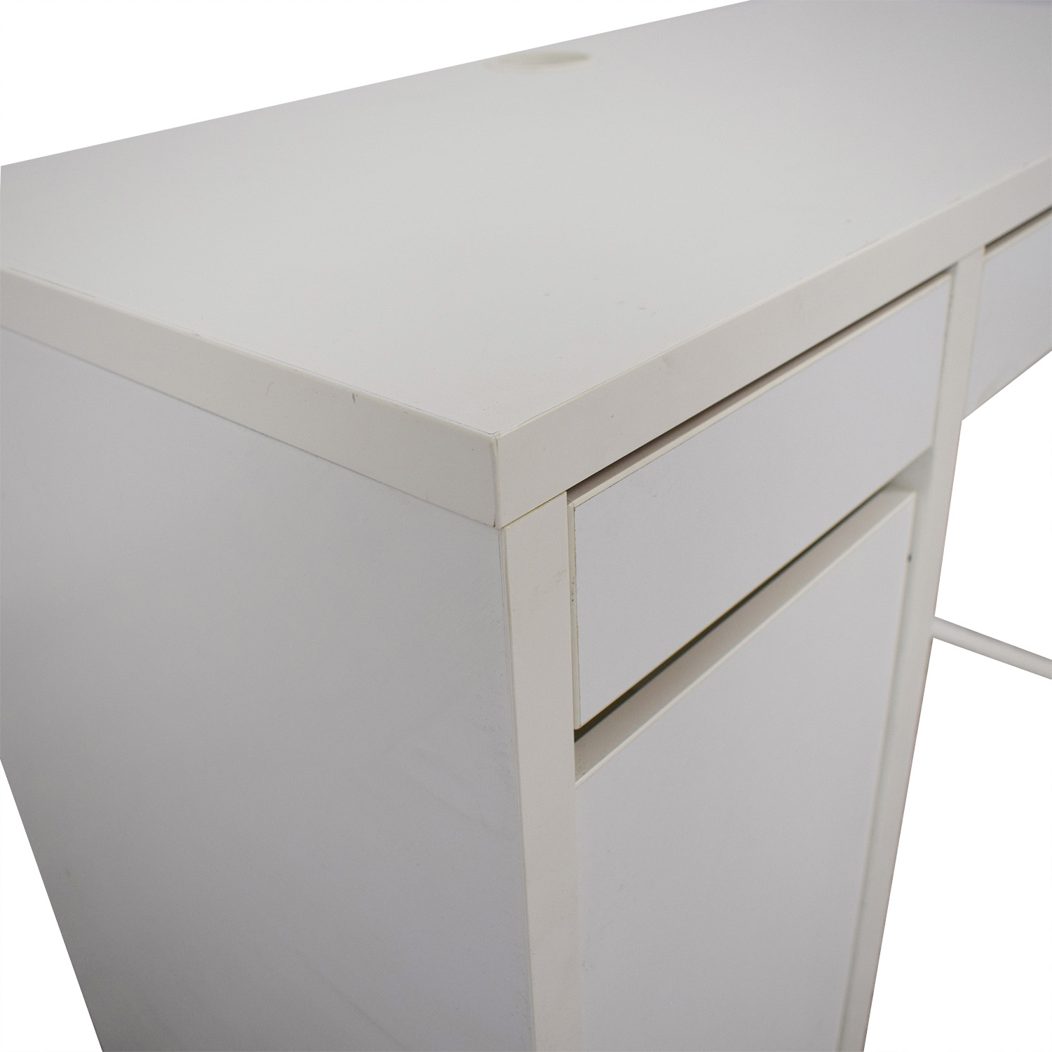 White Desk with Side Cabinet dimensions