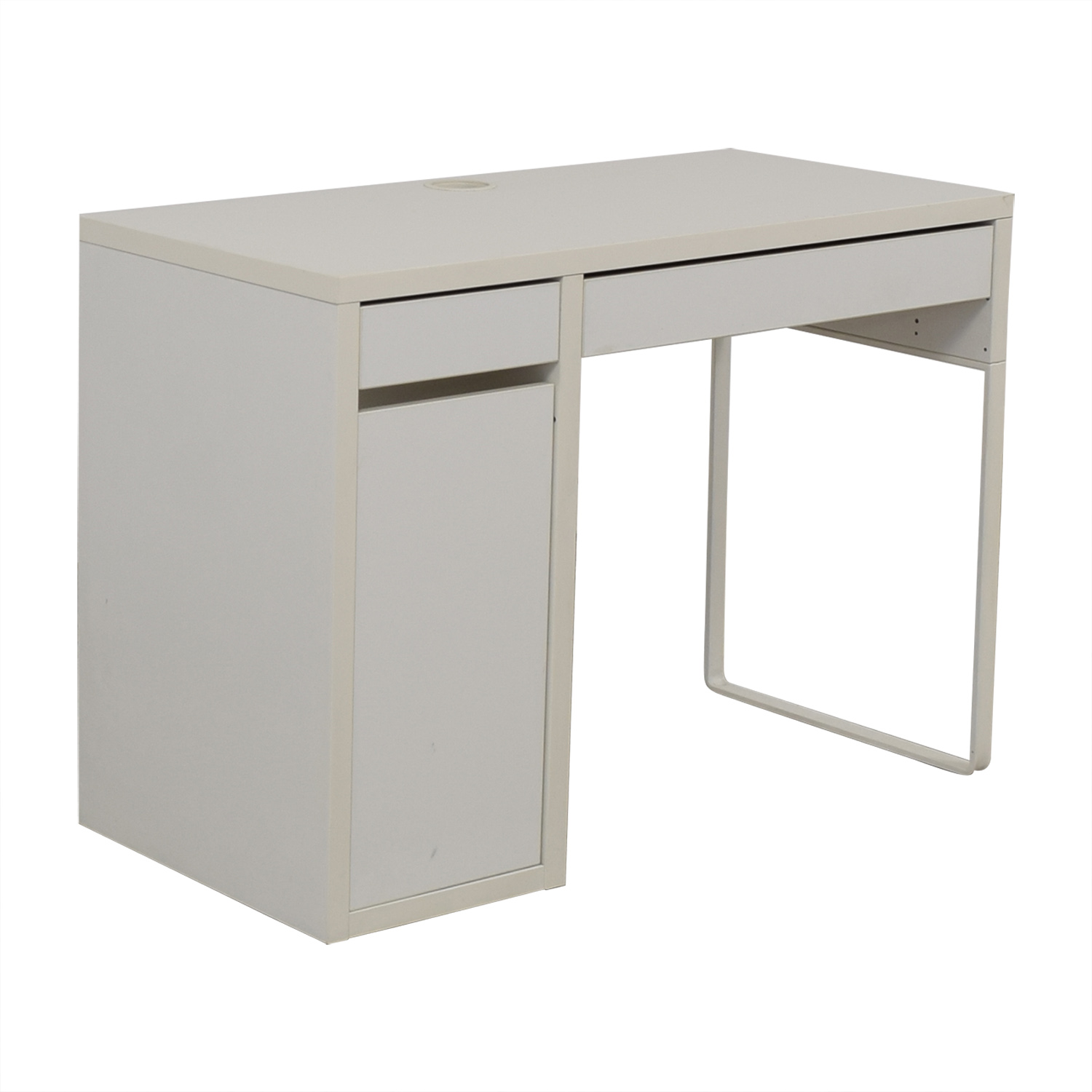 White Desk with Side Cabinet discount