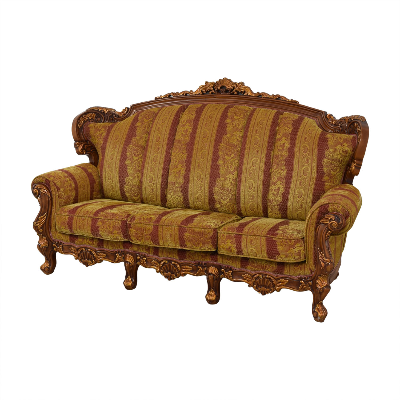 83 Off Wood And Fabric Sofa Sofas