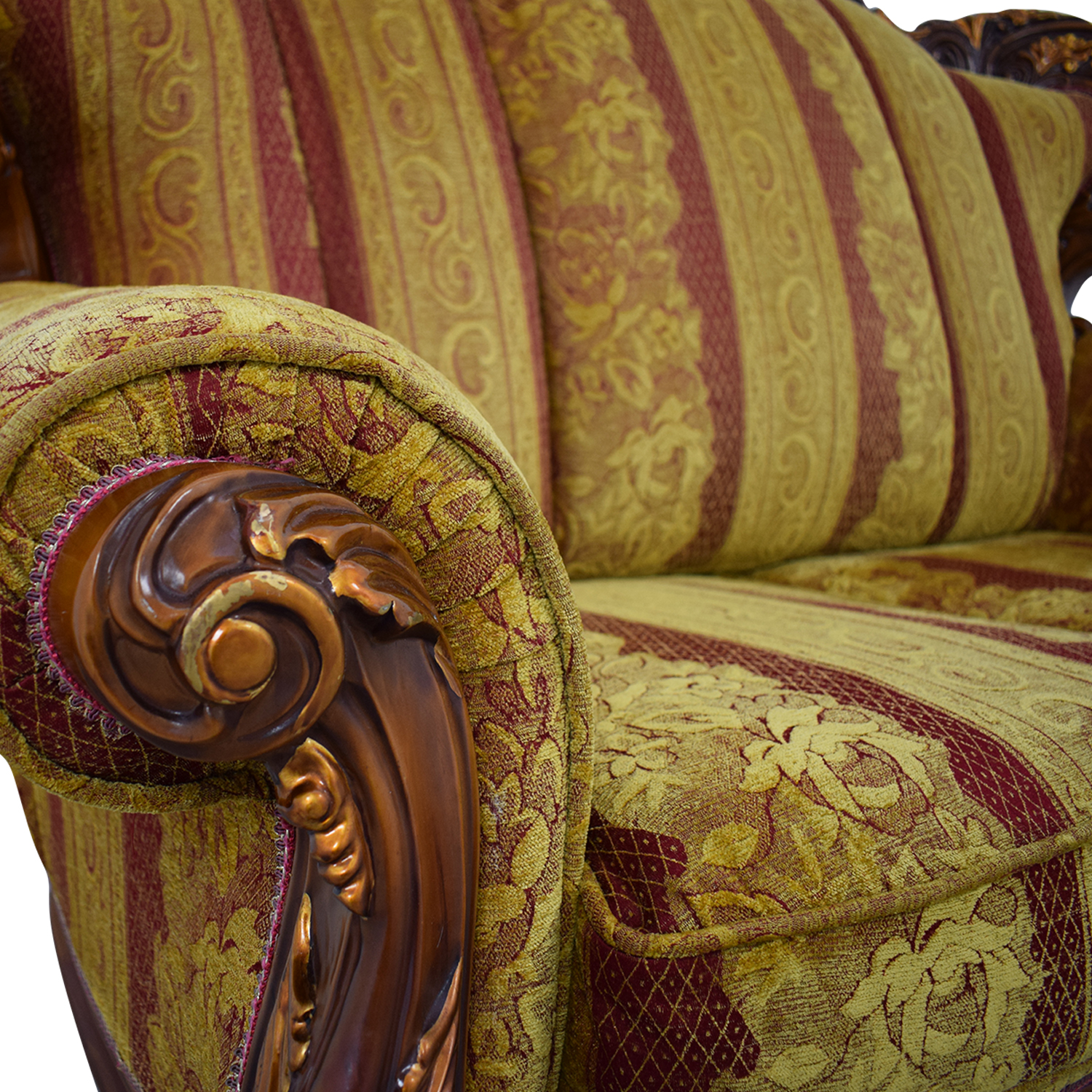 Two Seat Sofa gold & red