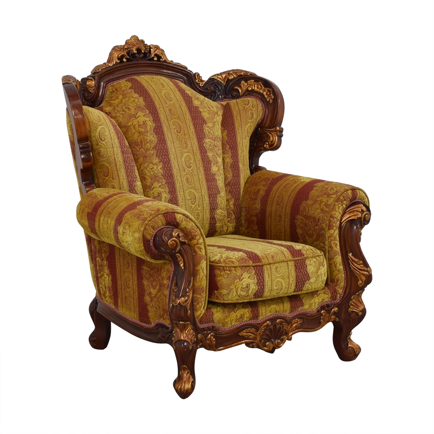 shop Wood and Fabric Sofa Chair  Accent Chairs