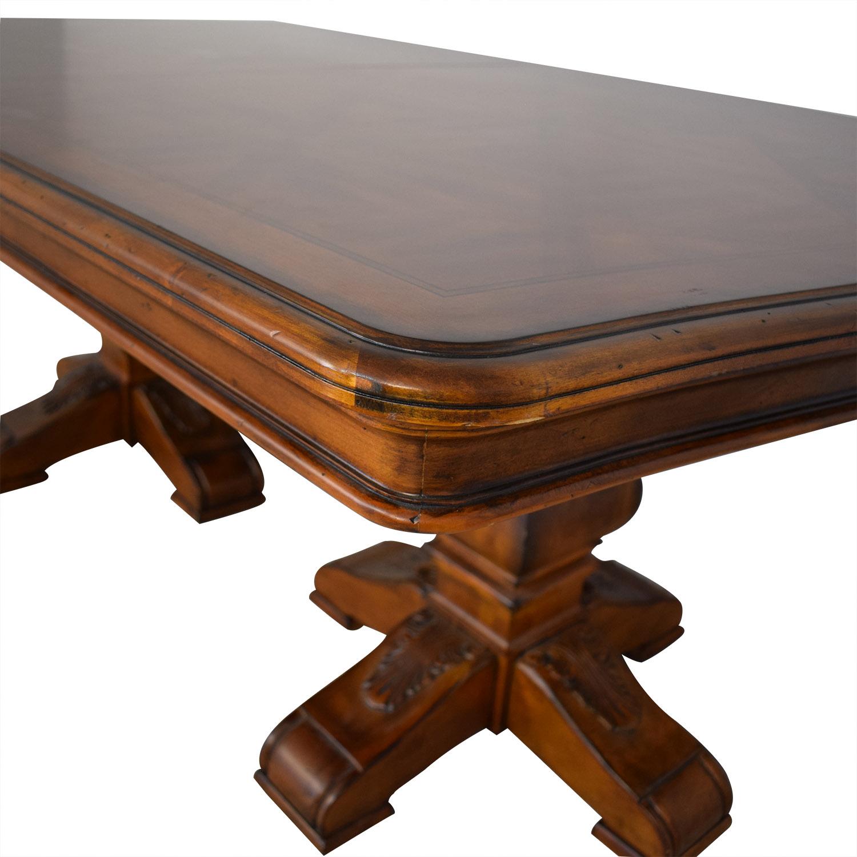 Ethan Allen Ethan Allen Wooden Pedestal Dining Table brown