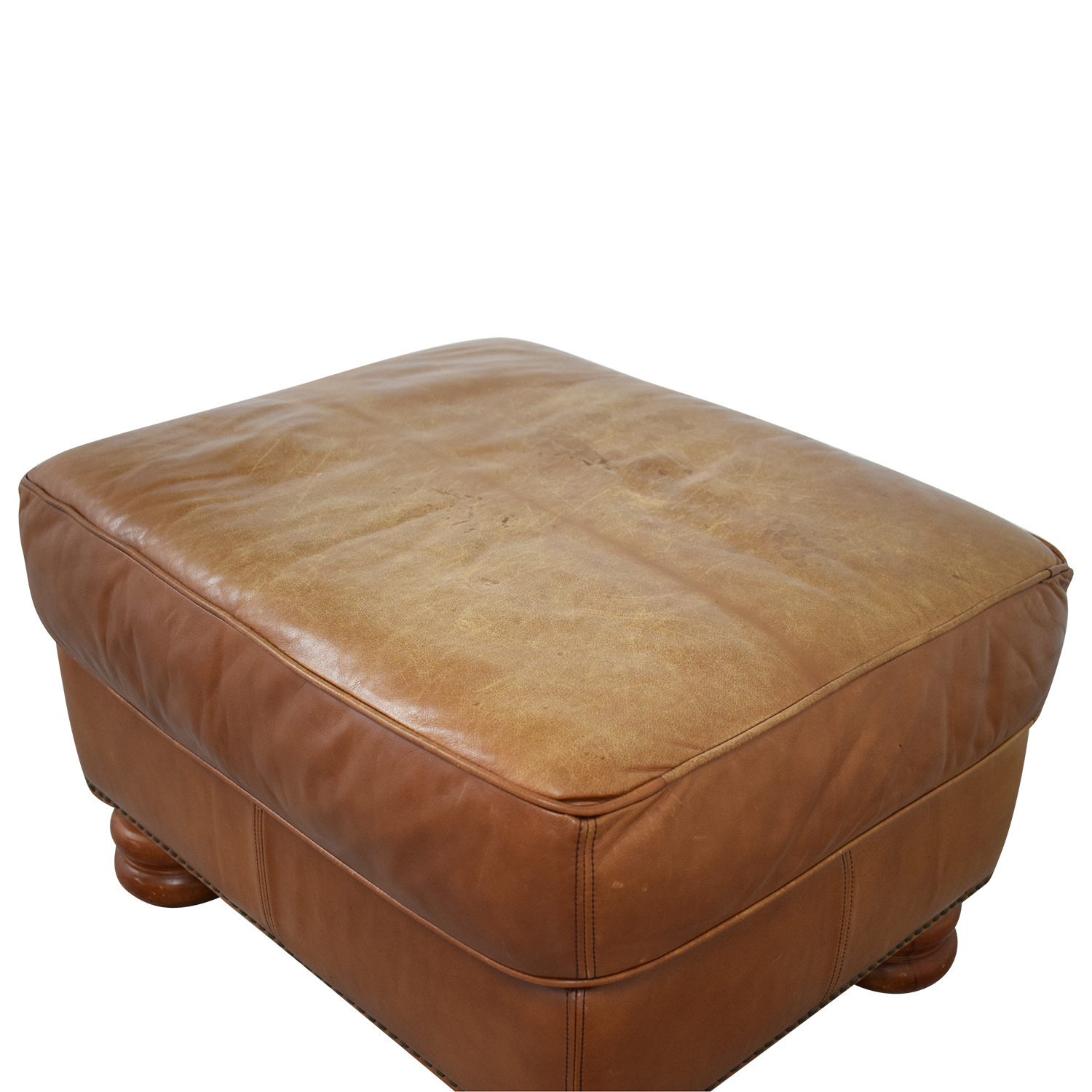 shop Thomasville Brown Leather Ottoman Thomasville