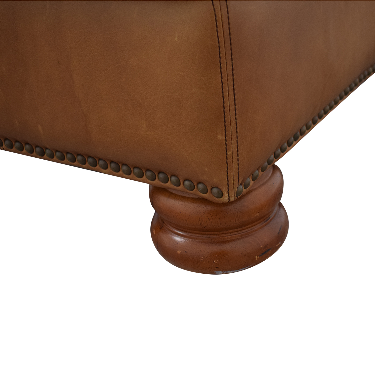 buy Thomasville Brown Leather Ottoman Thomasville