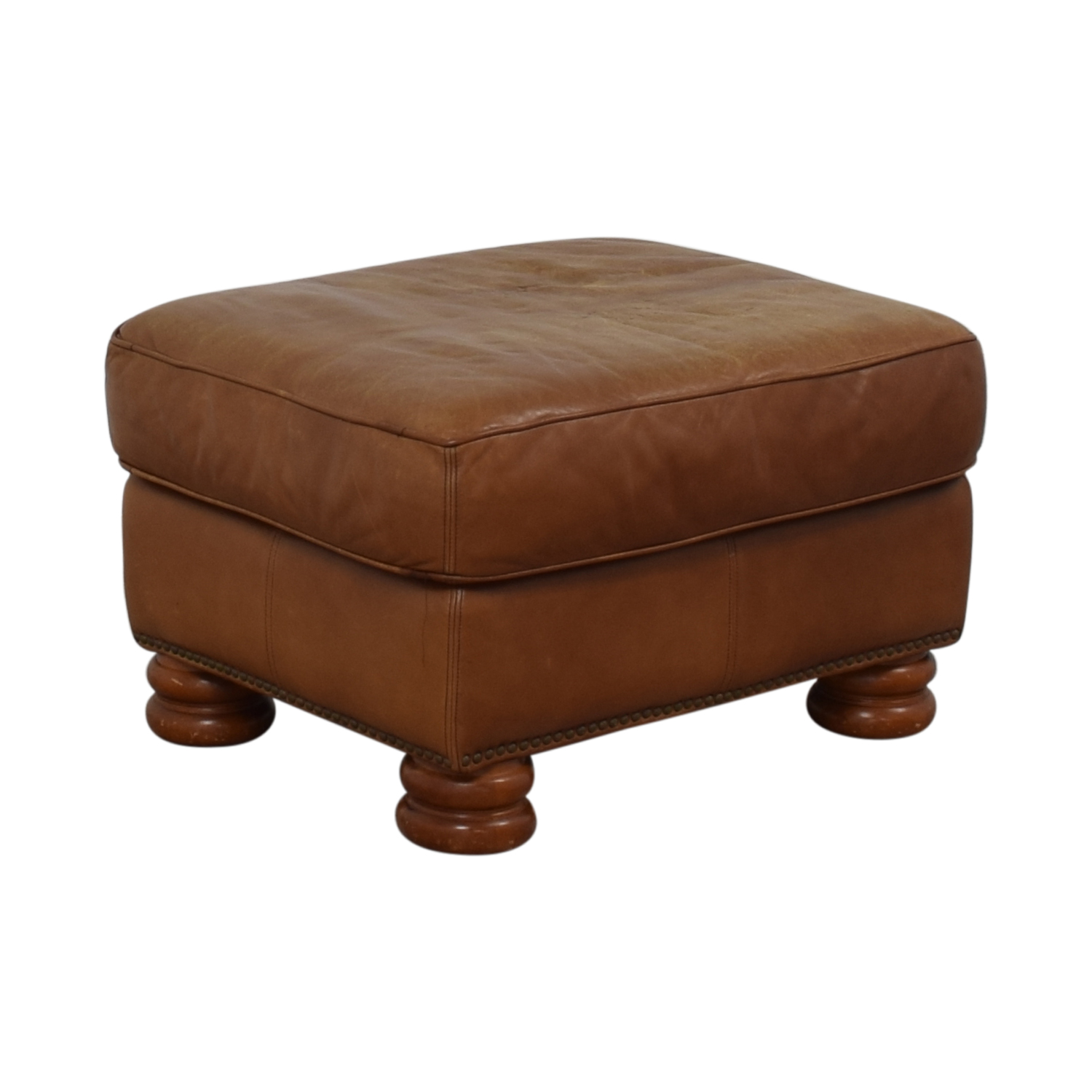 Thomasville Brown Leather Ottoman / Ottomans
