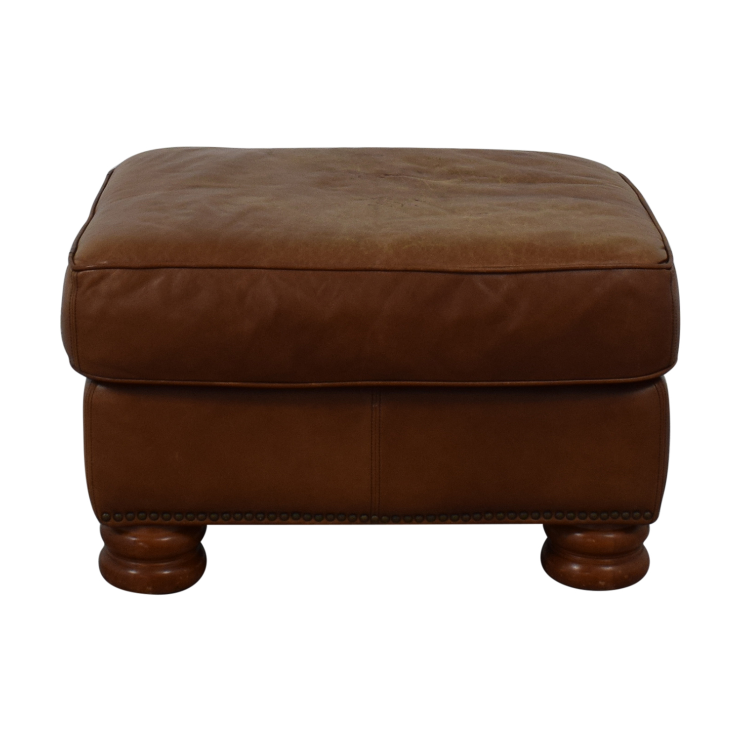 Thomasville Brown Leather Ottoman / Chairs