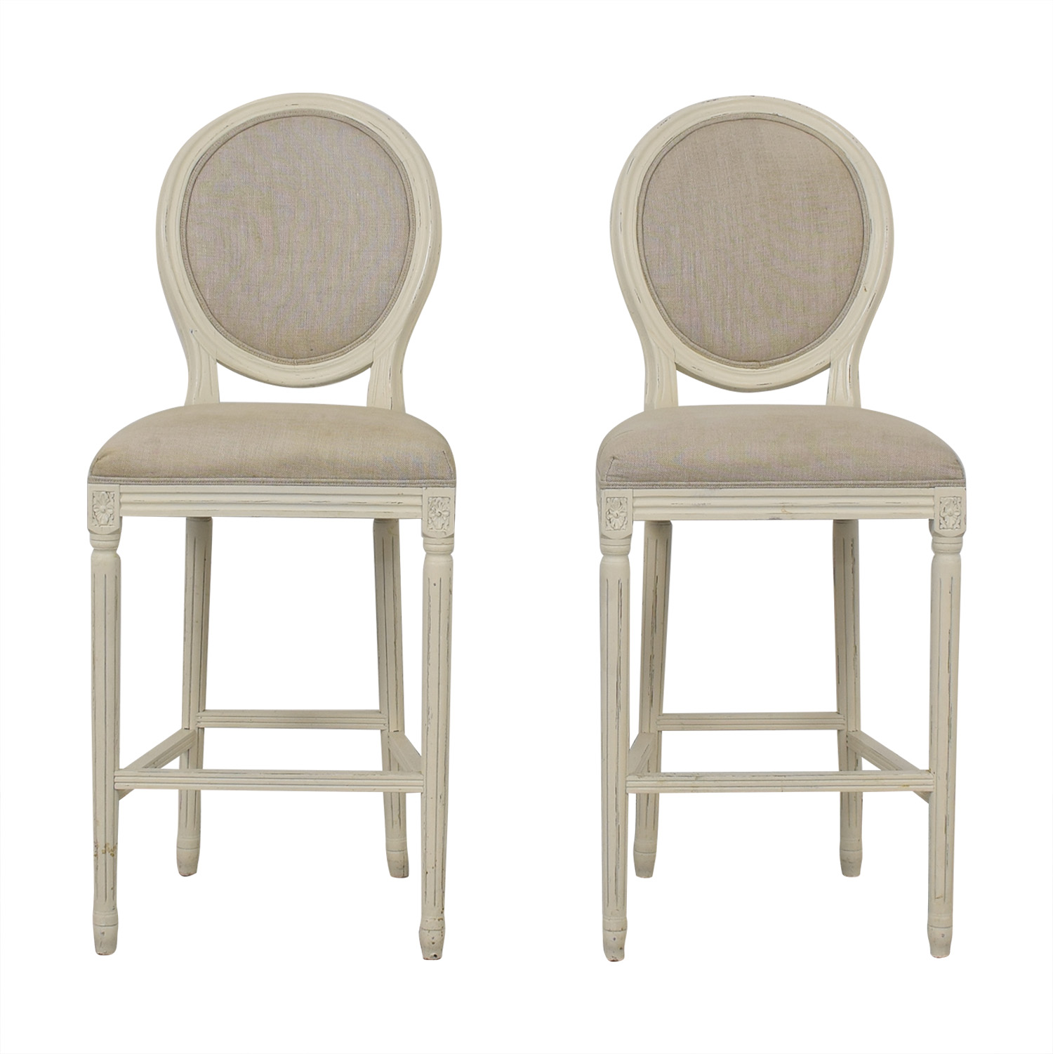 Restoration Hardware Vintage French Round Fabric Stools sale