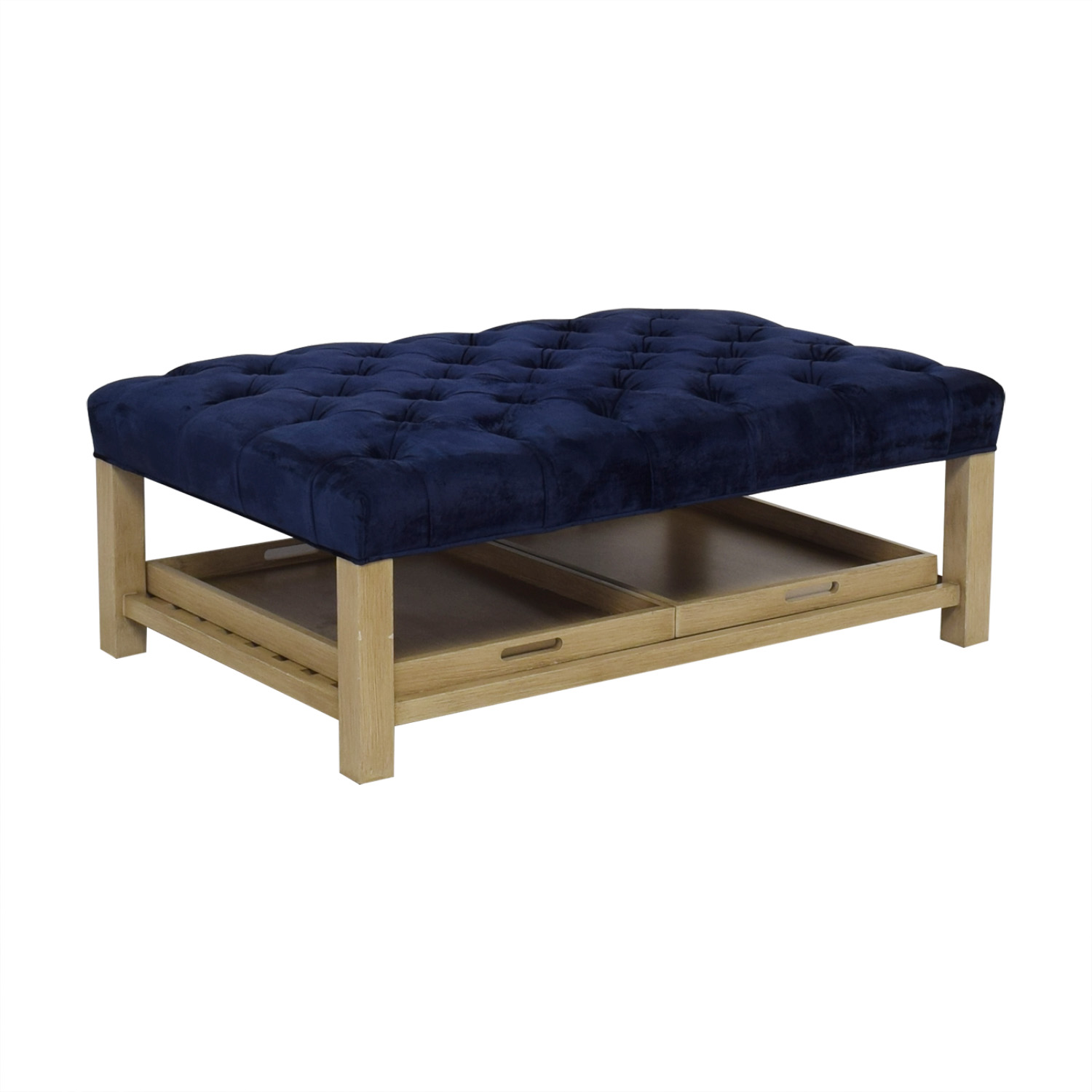 Arhaus Arhaus Tufted Coffee Table with Trays for sale