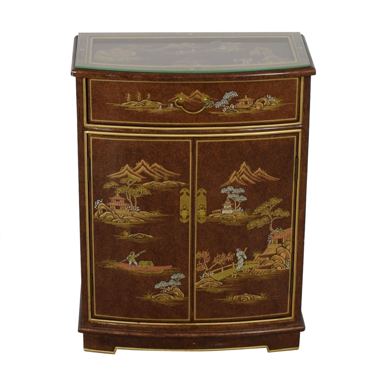 Chinese Glass Top Storage Dresser Storage