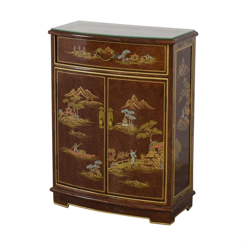 Chinese Glass Top Storage Dresser on sale