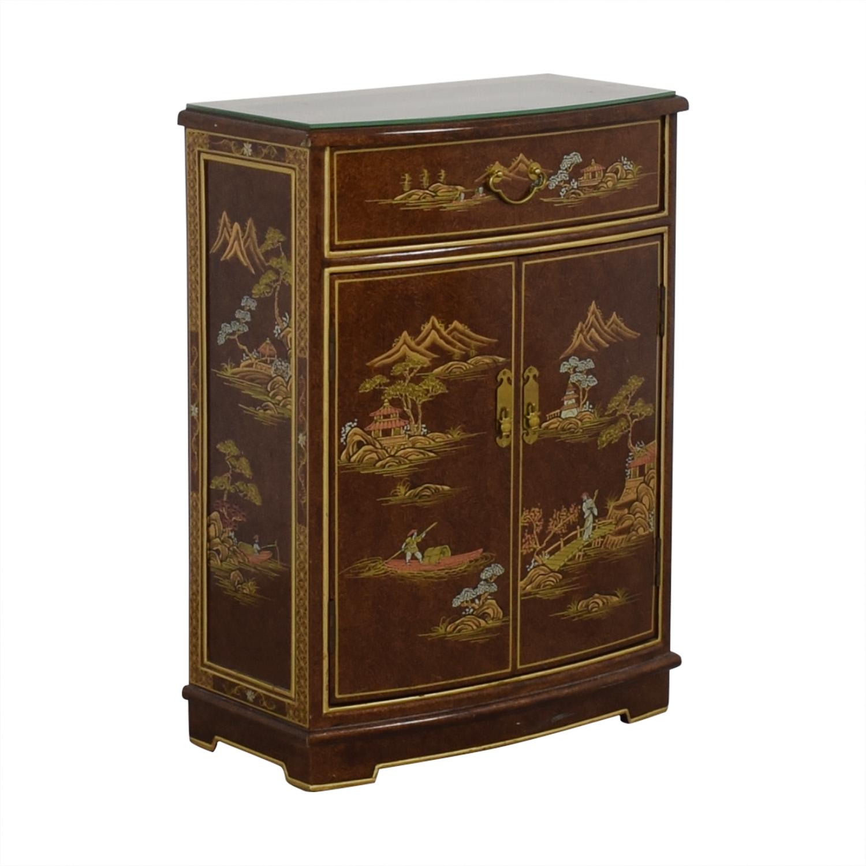 Chinese Glass Top Storage Dresser brown