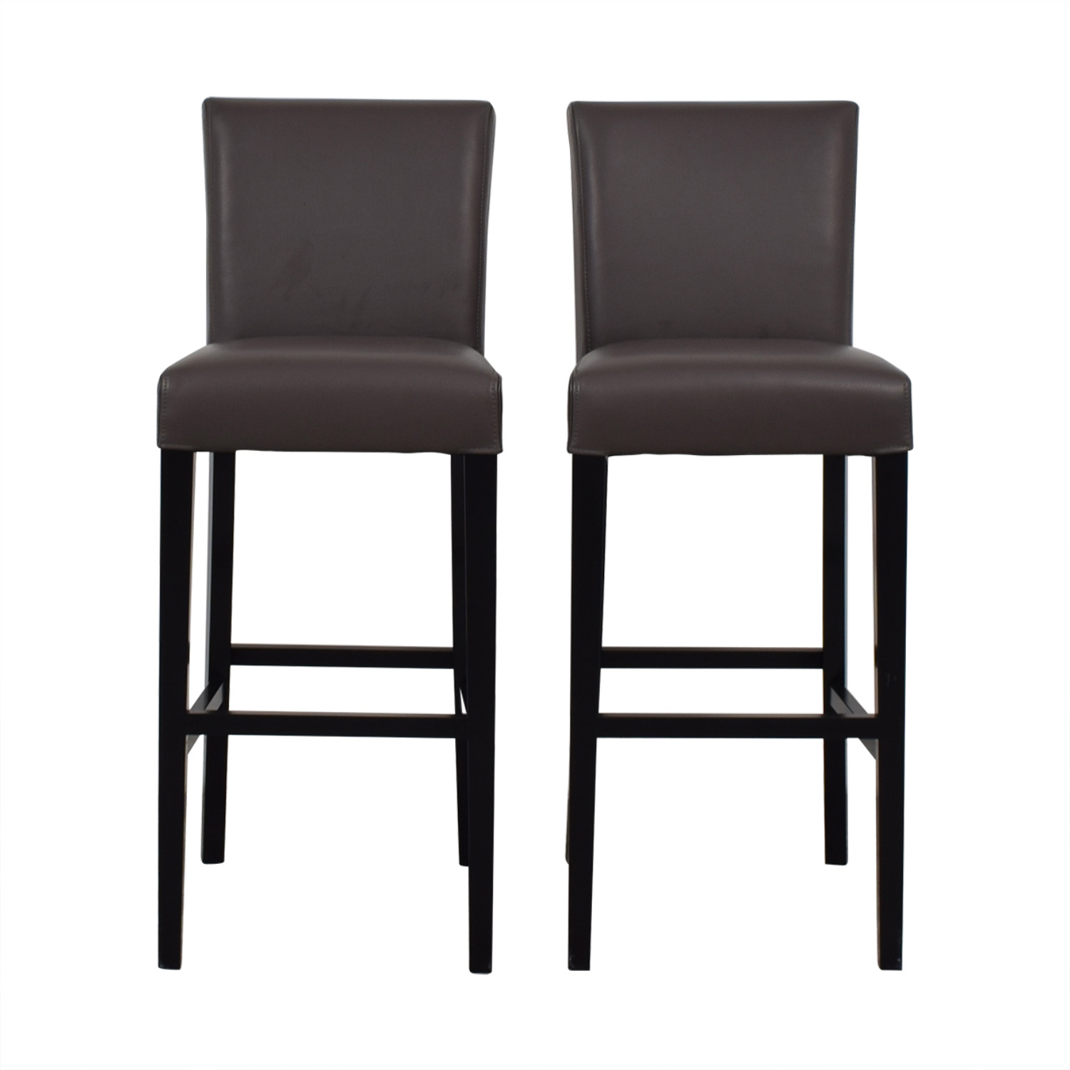 Crate & Barrel Lowe Smoke Leather Bar Stools / Stools