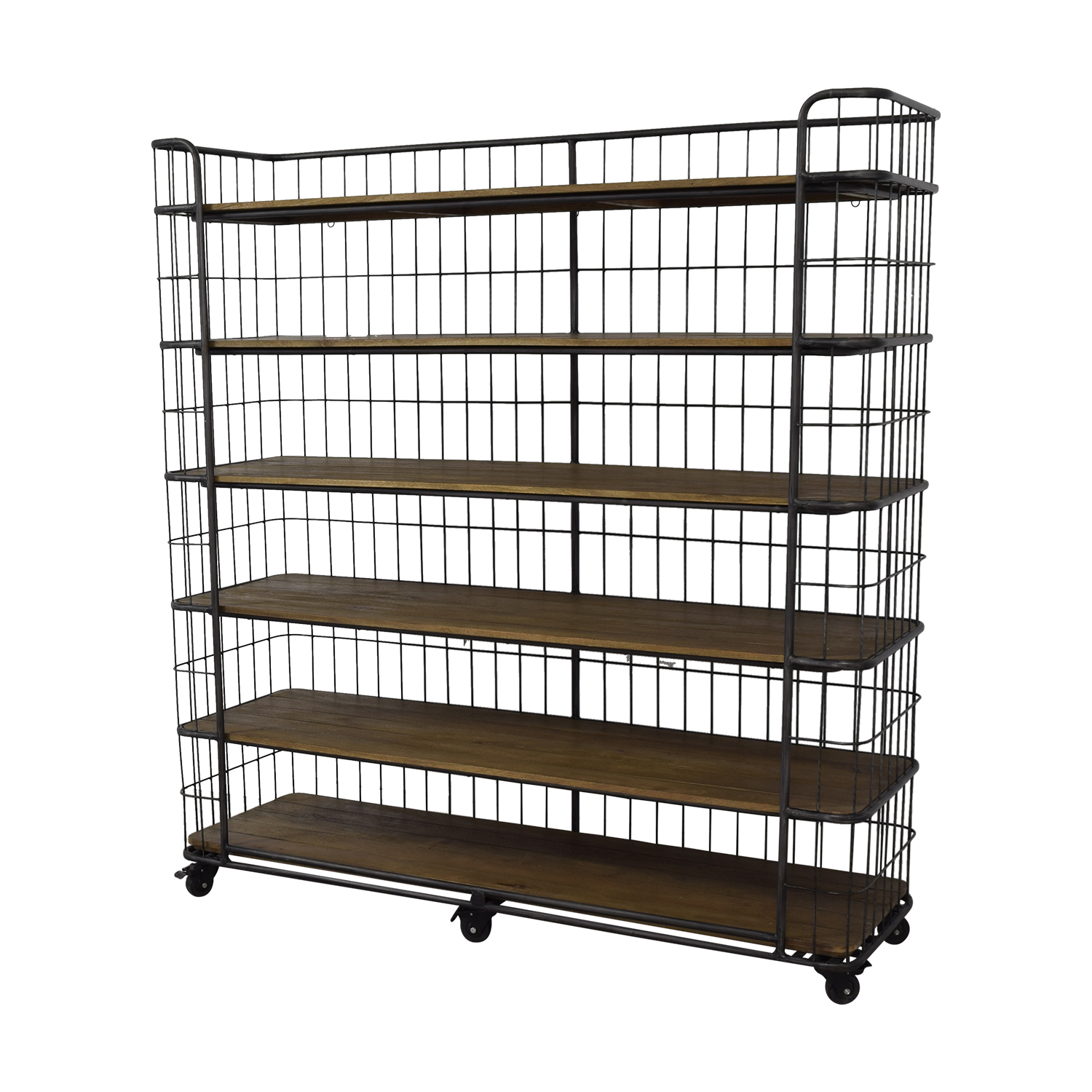 buy Restoration Hardware Restoration Hardware Circa 1900 Caged Baker's Rack Wide Single Shelving online