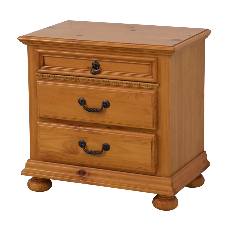 Wood Three Drawer Nightstand