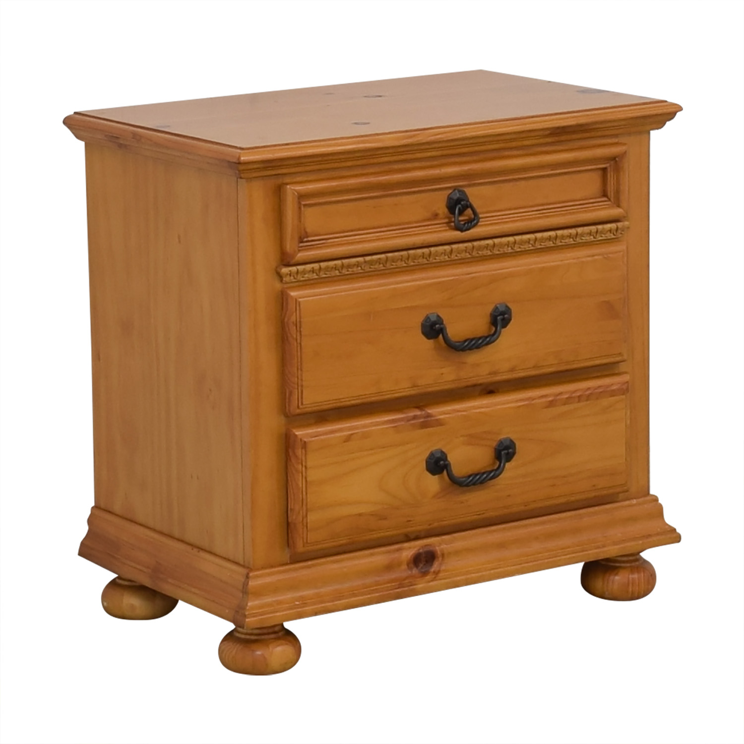Wood Three Drawer Nightstand / End Tables