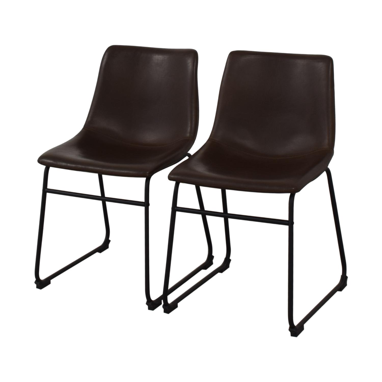 buy Walker Edison Industrial Faux Leather Dining Chairs Walker Edison Dining Chairs
