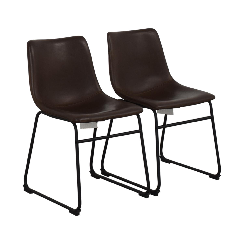 buy Walker Edison Walker Edison Industrial Faux Leather Dining Chairs online