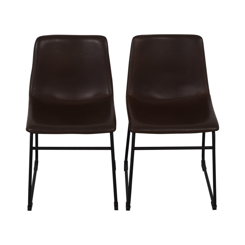 Walker Edison Walker Edison Industrial Faux Leather Dining Chairs nj