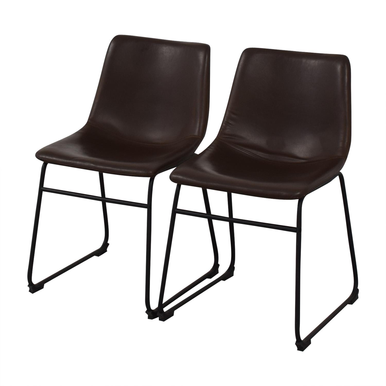 Walker Edison Walker Edison Industrial Faux Leather Dining Chairs on sale