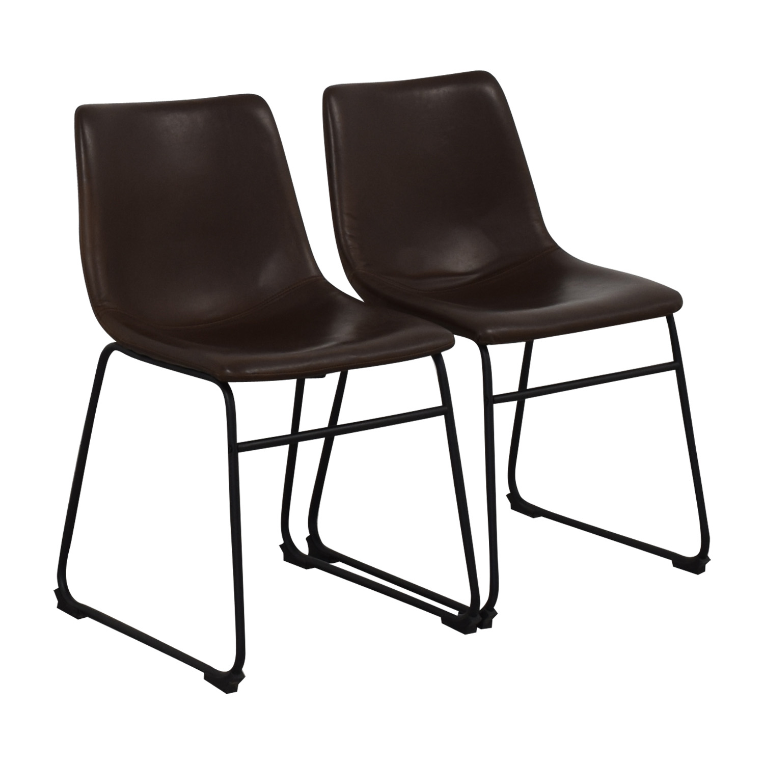Walker Edison Industrial Faux Leather Dining Chairs / Chairs