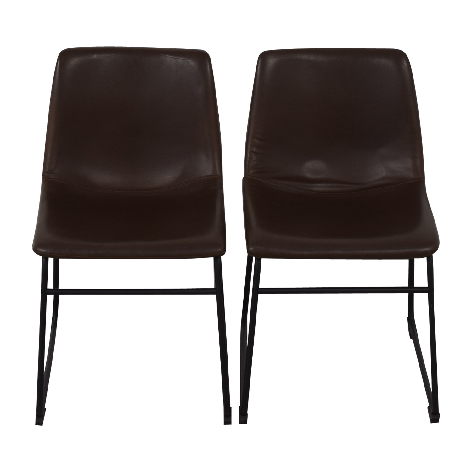 Walker Edison Walker Edison Industrial Faux Leather Dining Chairs brown