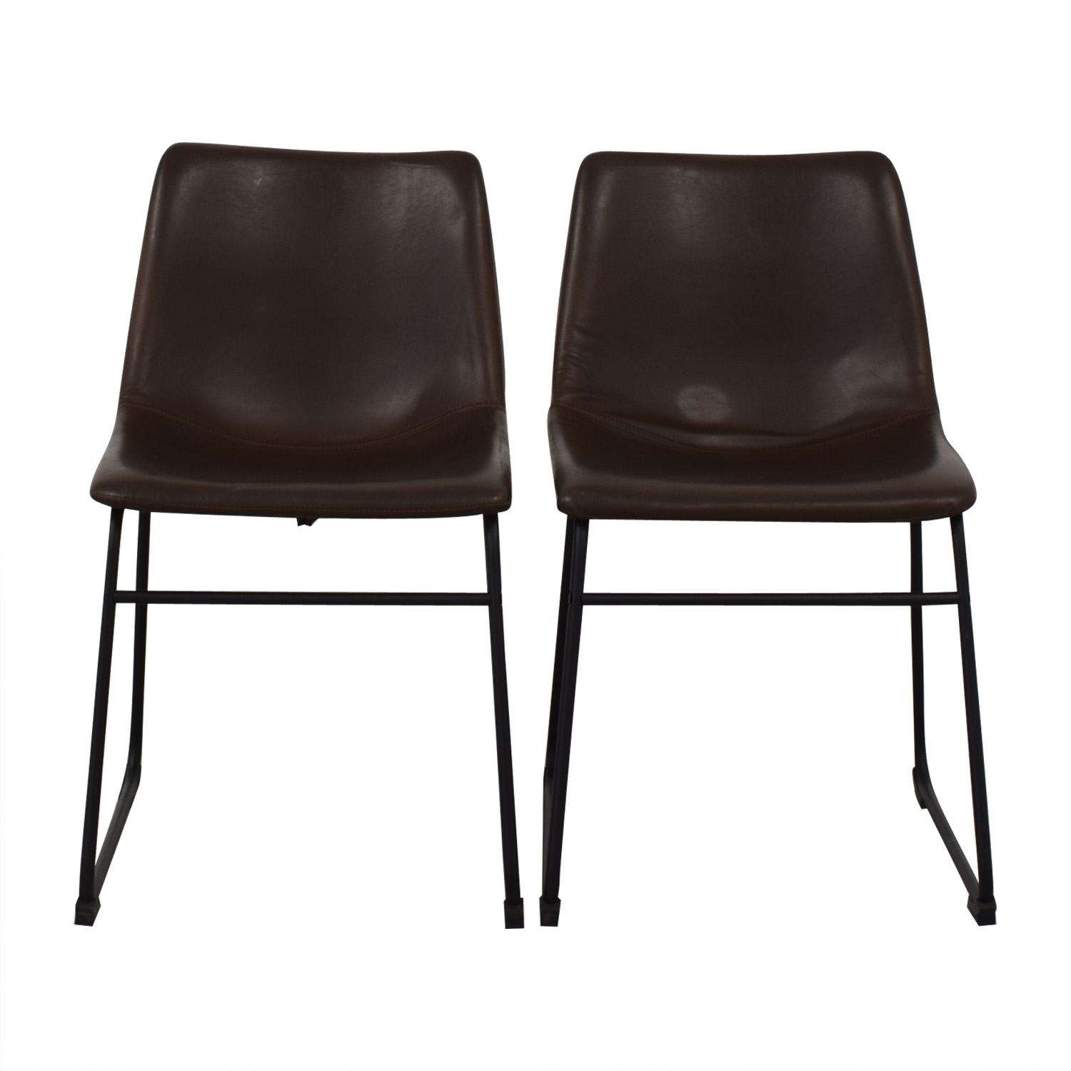 Walker Edison Walker Edison Industrial Faux Leather Dining Chairs dimensions