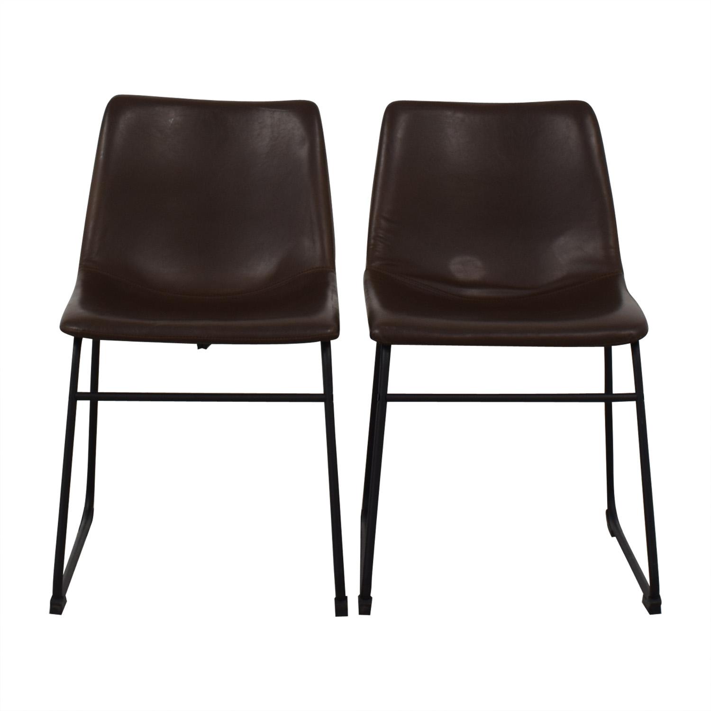 shop Walker Edison Industrial Faux Leather Dining Chairs Walker Edison Dining Chairs
