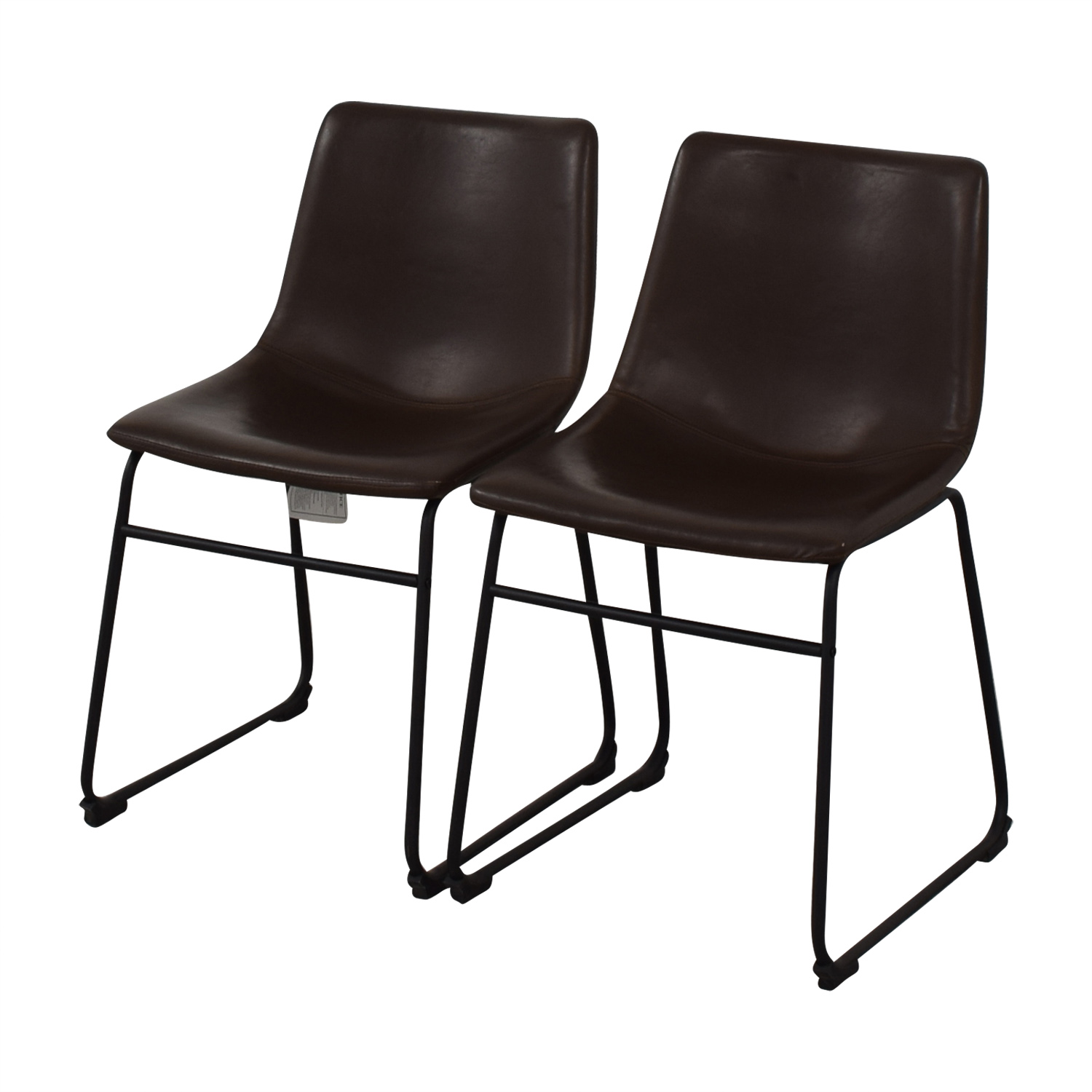 Walker Edison Walker Edison Industrial Faux Leather Dining Chairs nyc