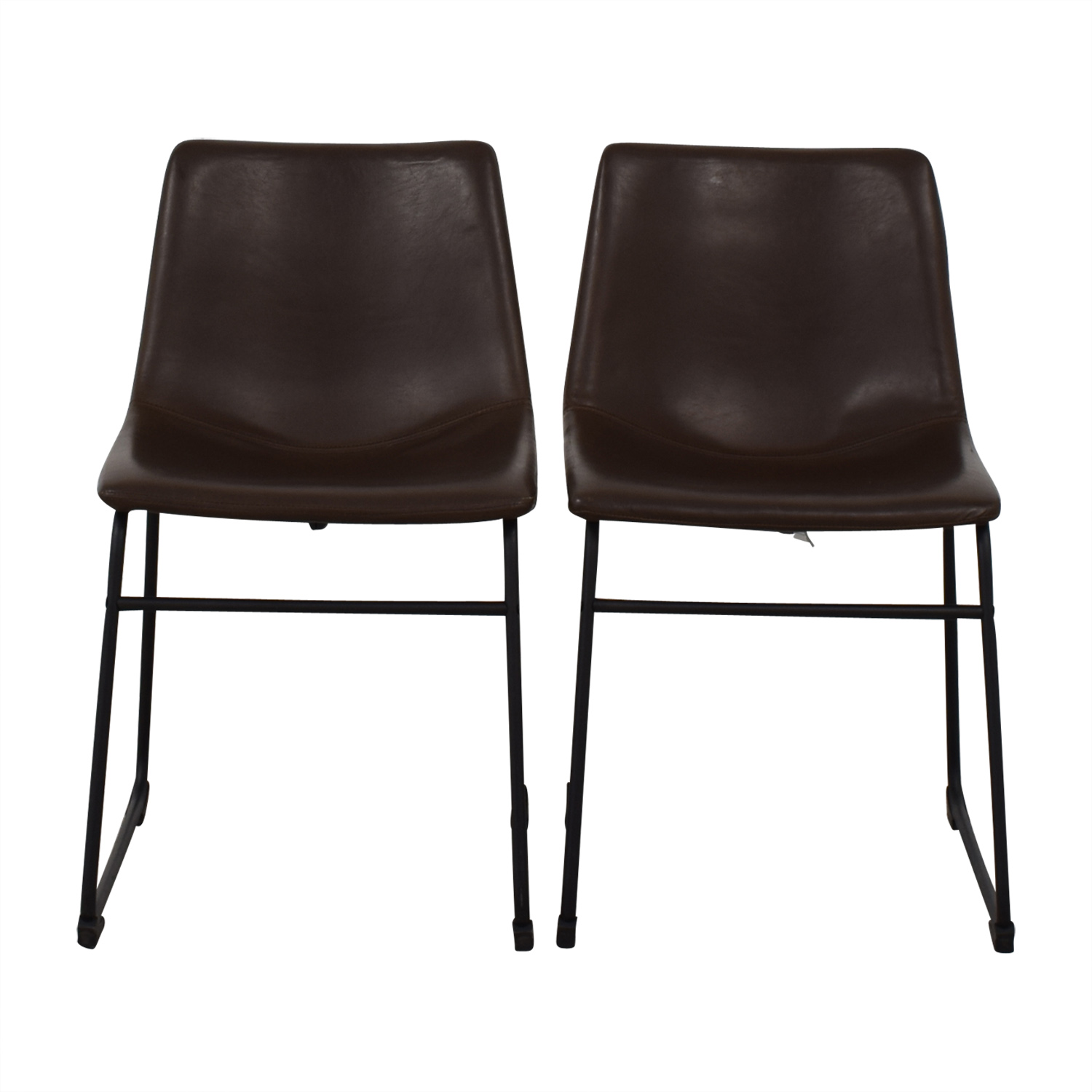 Walker Edison Industrial Faux Leather Dining Chairs sale
