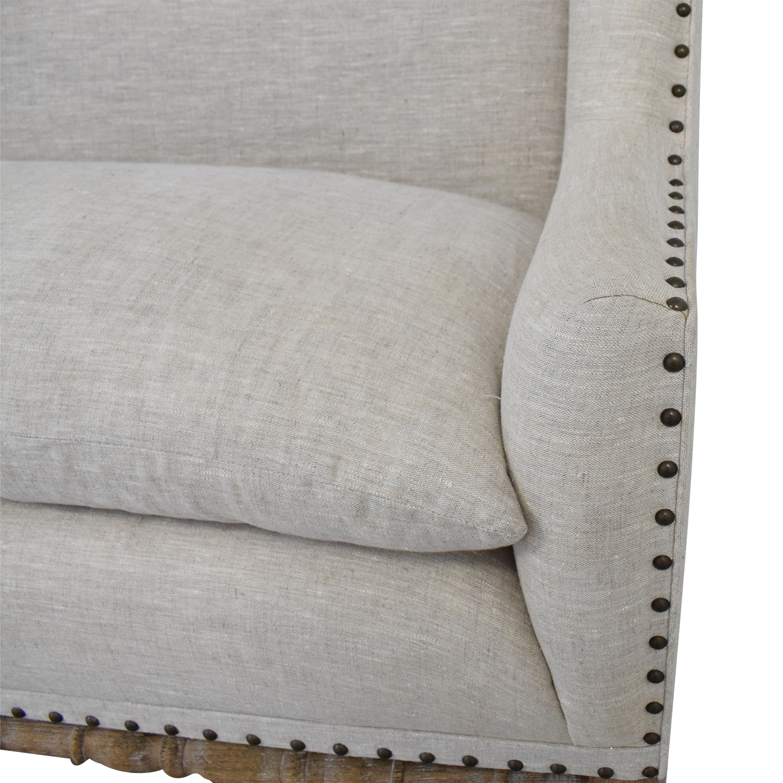 Zentique Zentique Linen Upholstered High-Back Banquette Sofa second hand