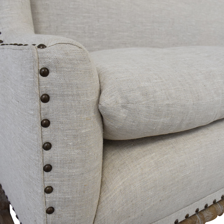 Zentique Zentique Linen Upholstered High-Back Banquette Sofa tan