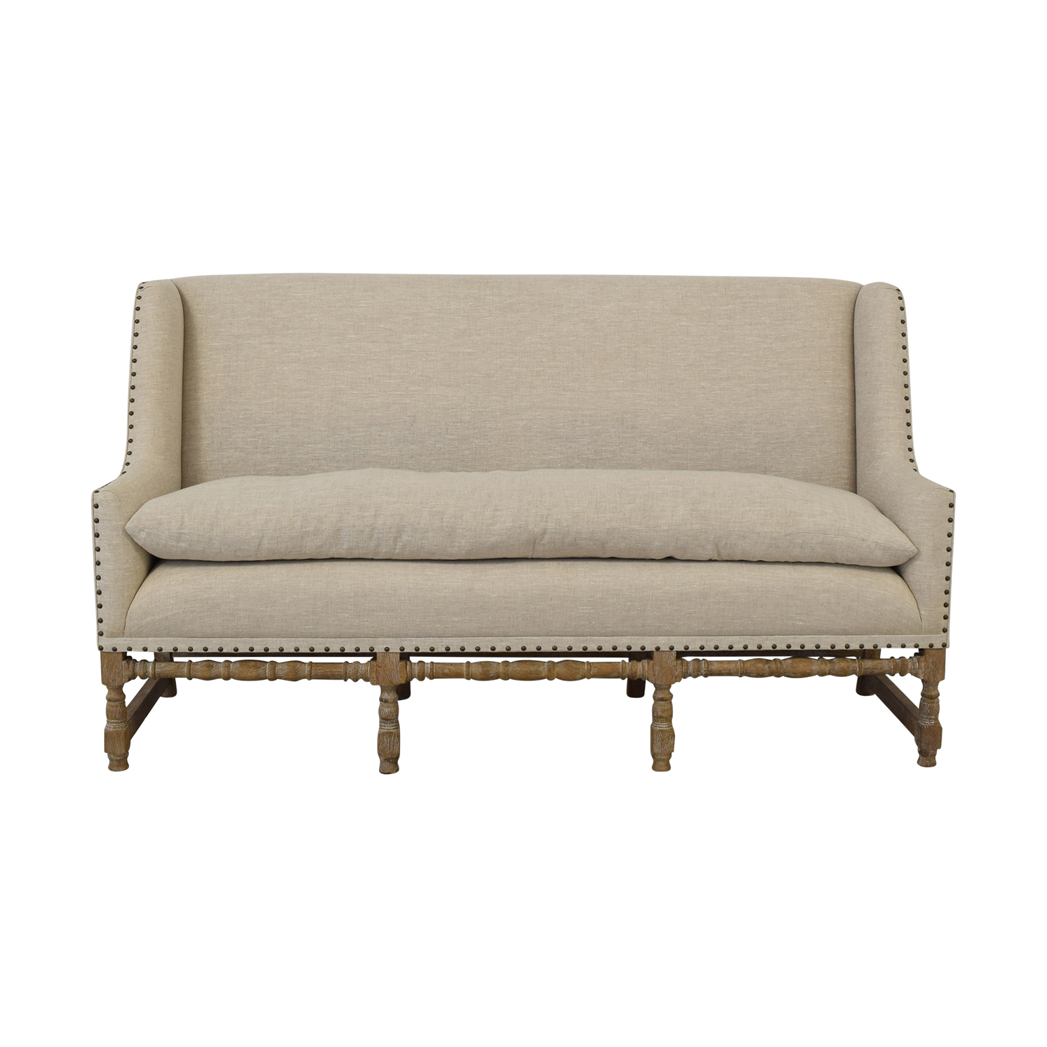 buy Zentique Zentique Linen Upholstered High-Back Banquette Sofa online