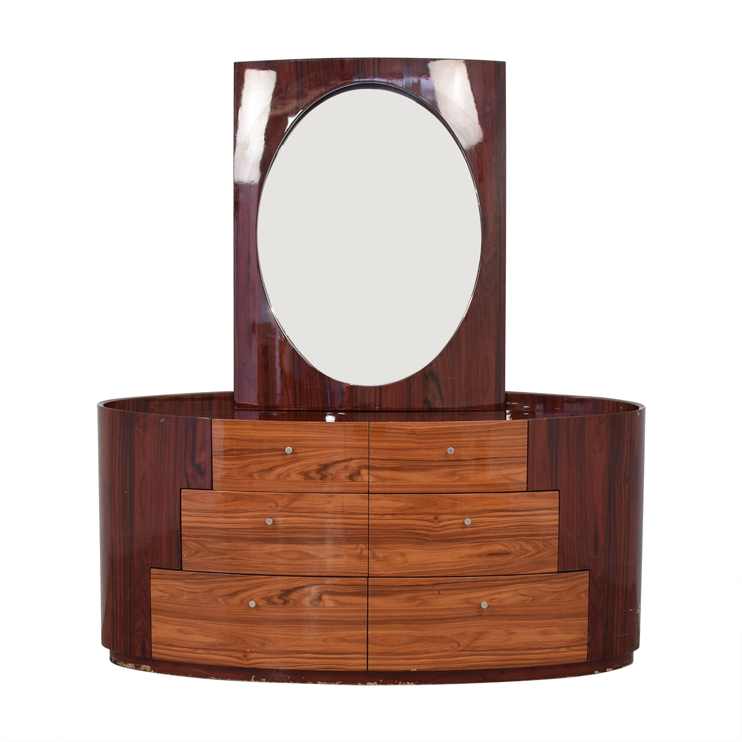 Curved Six Drawer Dresser and Mirror discount