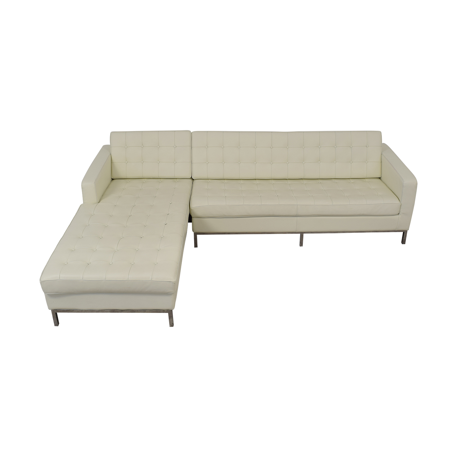 Prime 64 Off Kardiel Kardiel Florence Left Arm White Leather Sectional Sofas Camellatalisay Diy Chair Ideas Camellatalisaycom