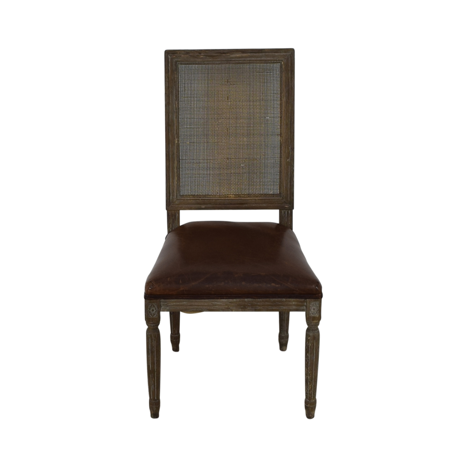 Restoration Hardware Restoration Hardware Vintage French Square Cane Back Leather Side Chair dimensions