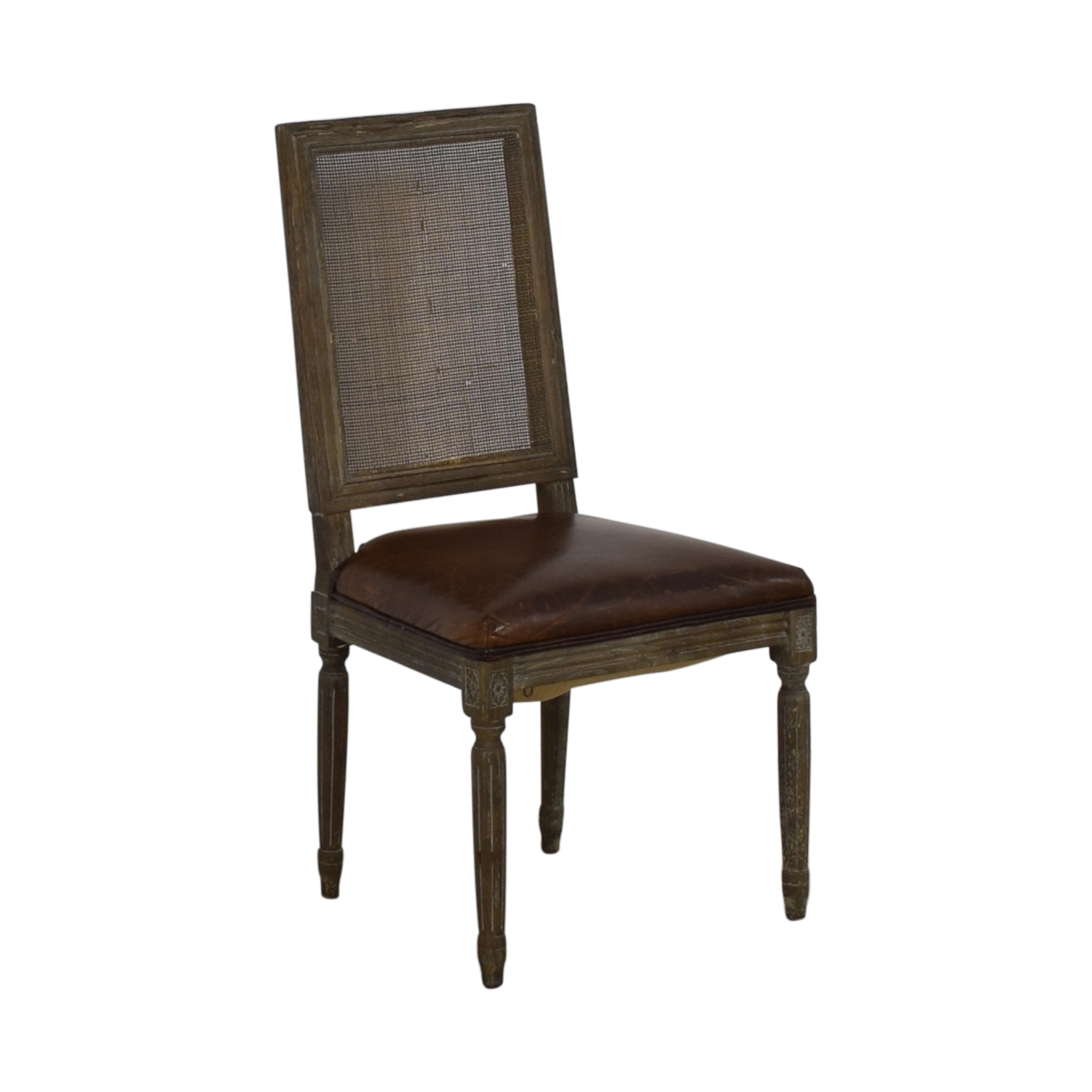 Restoration Hardware Vintage French Square Cane Back Leather Side Chair sale