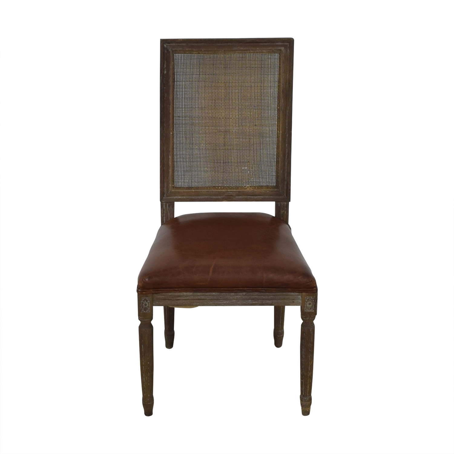 Restoration Hardware Restoration Hardware Vintage French Square Cane Back Leather Side Chair discount
