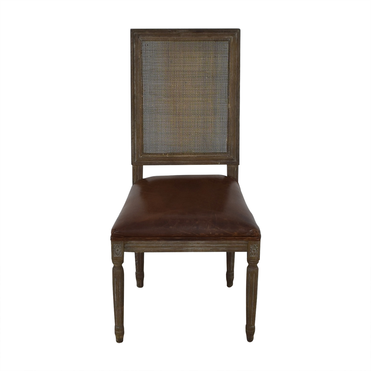 buy Restoration Hardware Vintage French Square Cane Back Leather Side Chair Restoration Hardware Dining Chairs