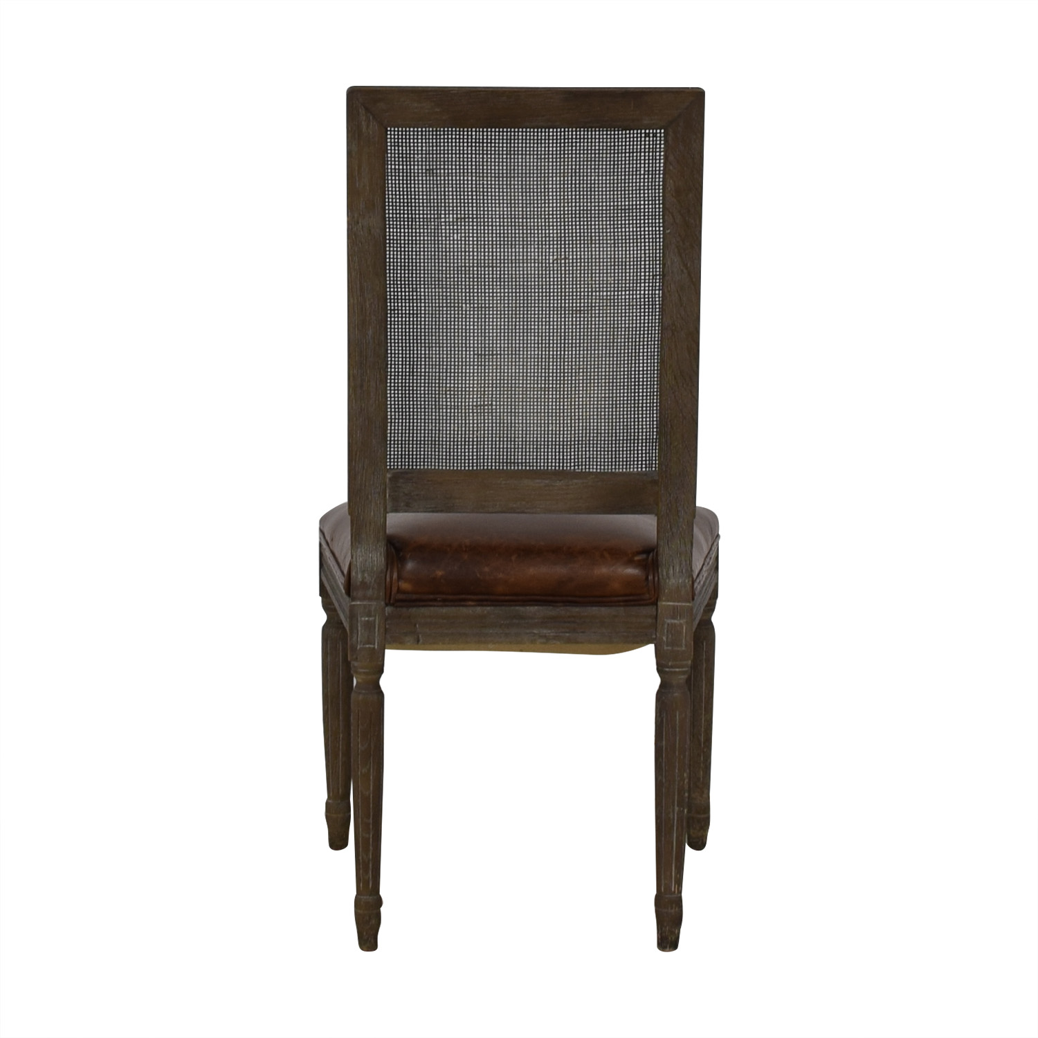 Restoration Hardware Vintage French Square Cane Back Leather Side Chair / Dining Chairs