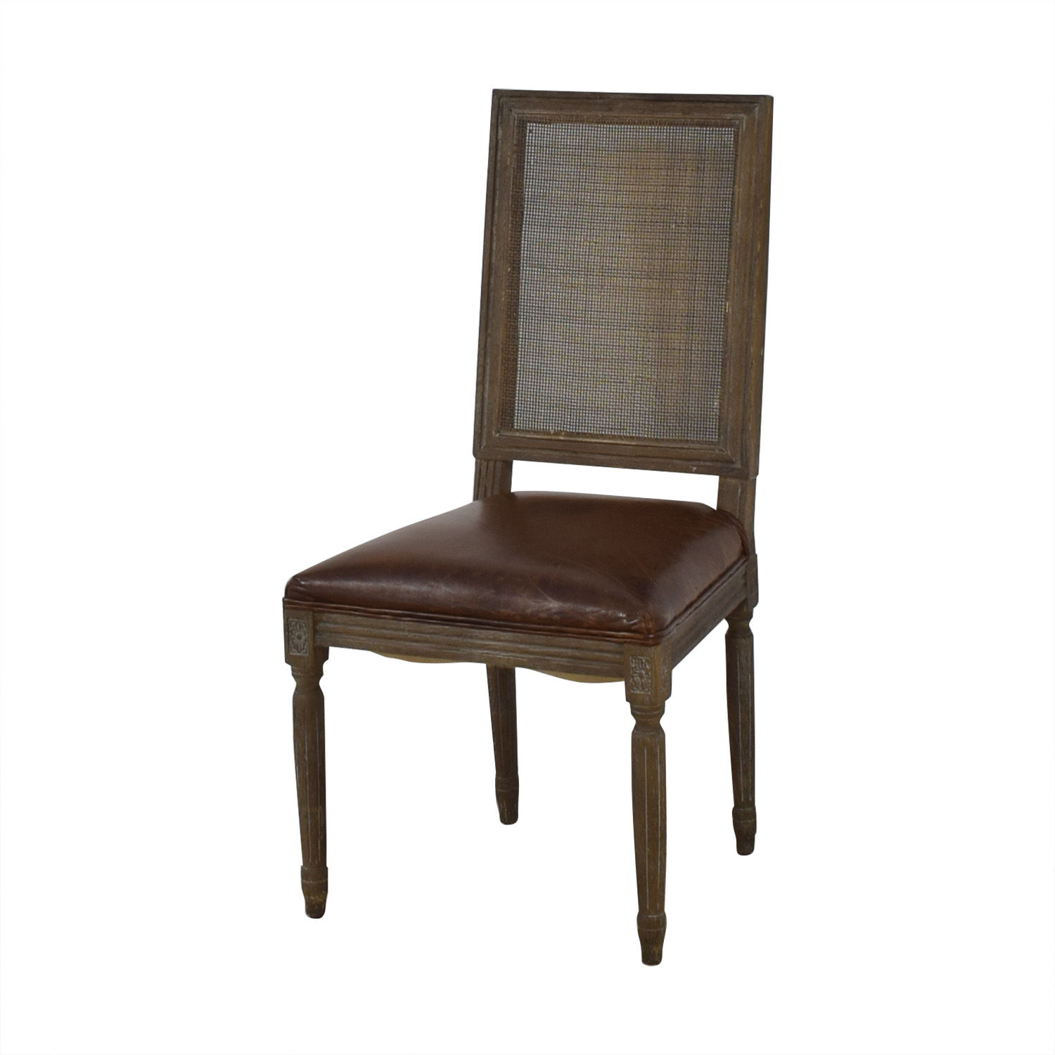 shop Restoration Hardware Vintage French Square Cane Back Leather Side Chair Restoration Hardware Chairs