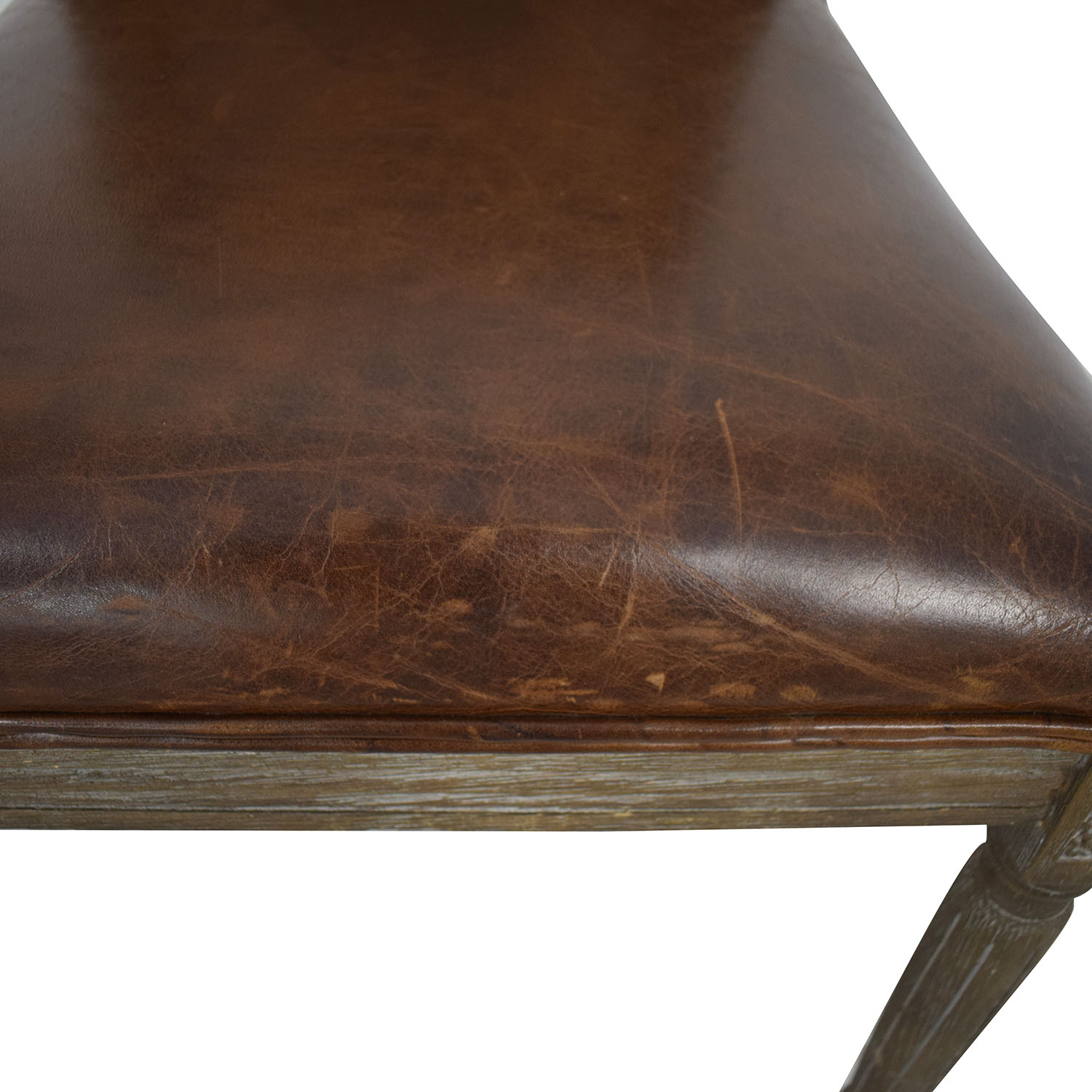 Restoration Hardware Vintage French Square Cane Back Leather Side Chair / Chairs