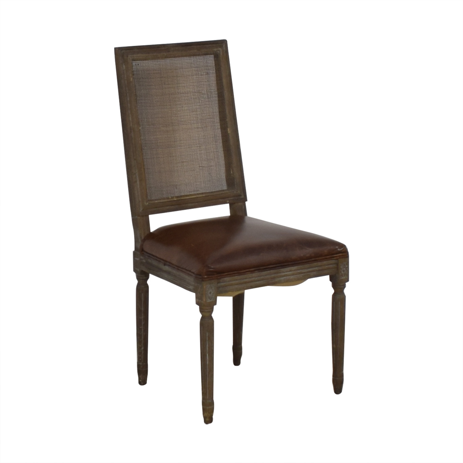 Restoration Hardware Restoration Hardware Vintage French Square Cane Back Leather Side Chair second hand