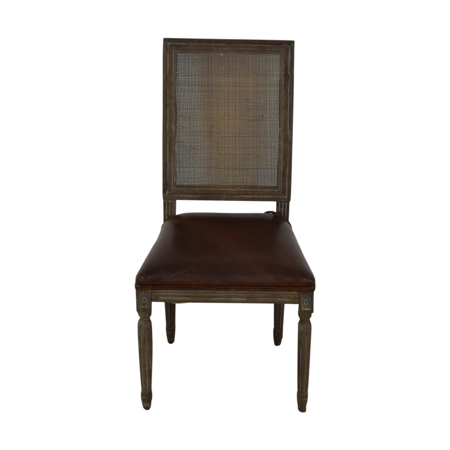 Restoration Hardware Restoration Hardware Vintage French Square Cane Back Leather Side Chair used