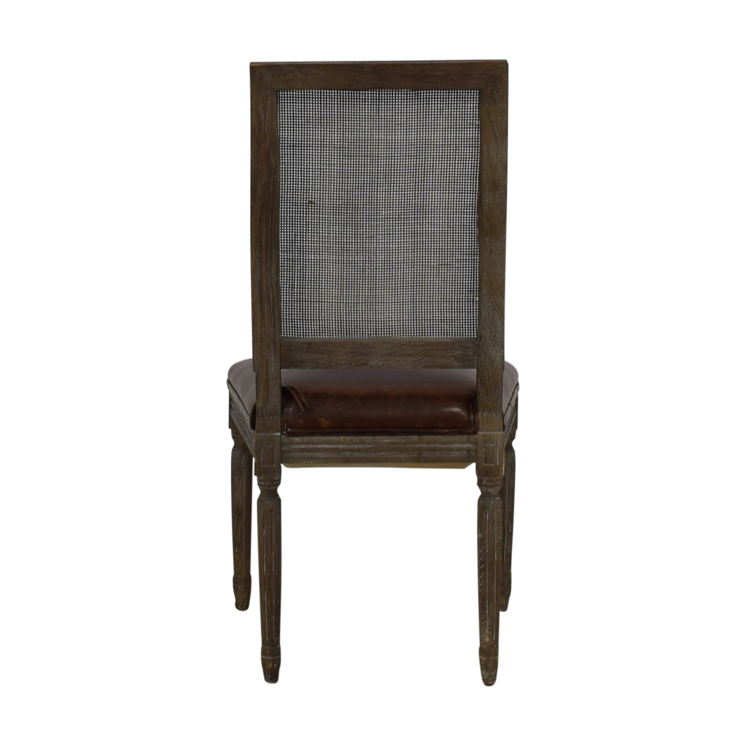 Restoration Hardware Restoration Hardware Vintage French Square Cane Back Leather Side Chair Brown