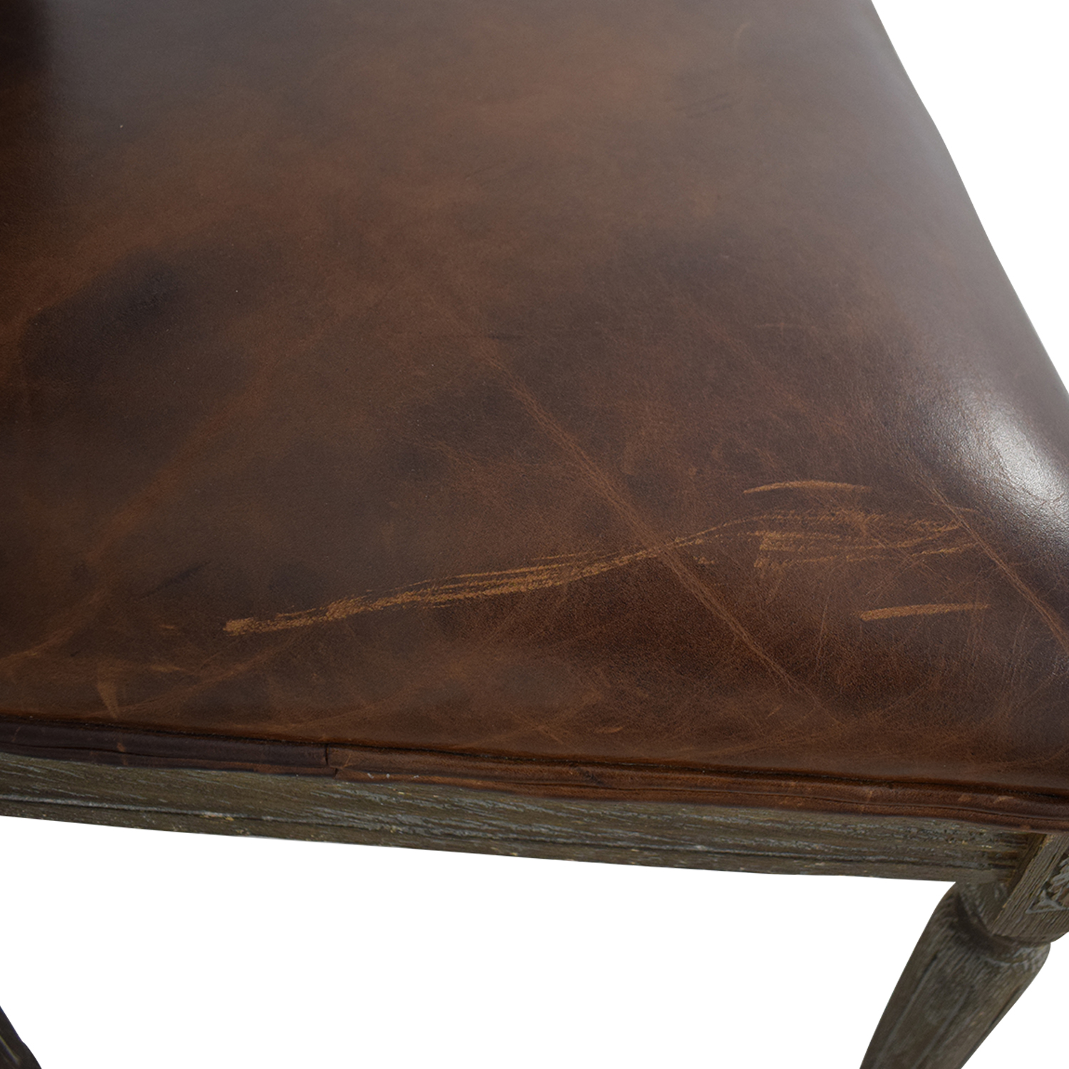 Restoration Hardware Restoration Hardware Vintage French Square Cane Back Leather Side Chair for sale