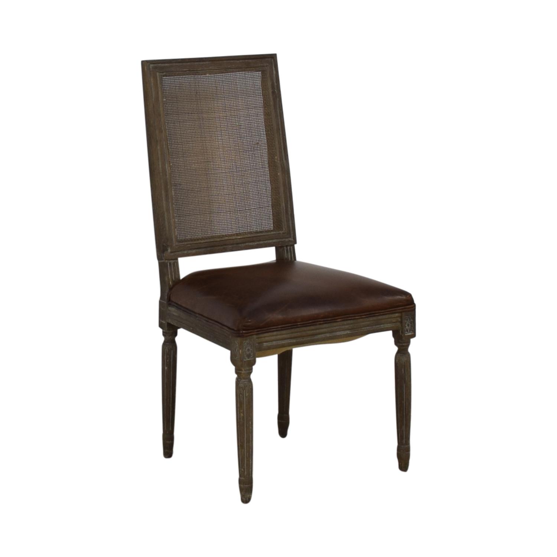 buy Restoration Hardware Vintage French Square Cane Back Leather Side Chair Restoration Hardware