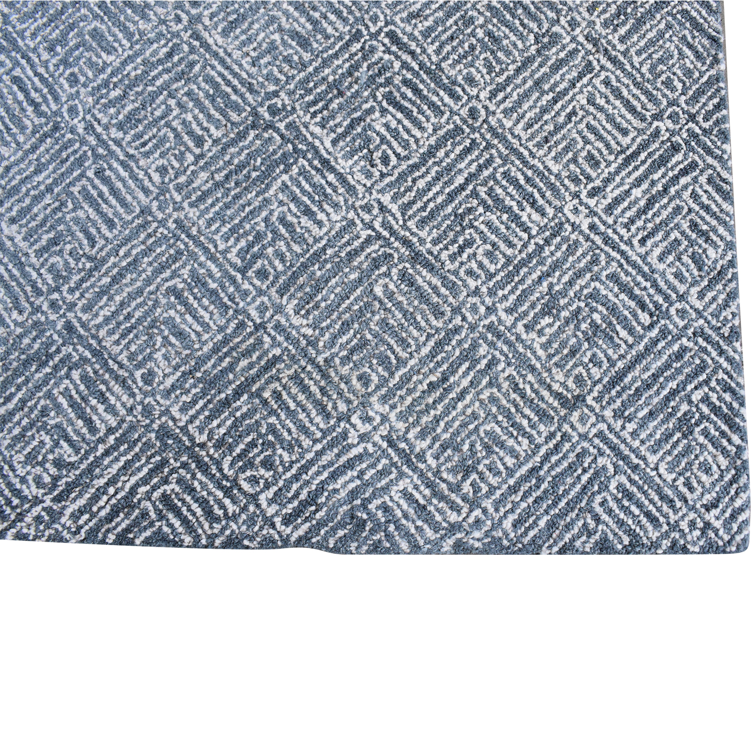 Crate & Barrel Crate & Barrel Curtis Indigo Wool-Blend Rug blue & white